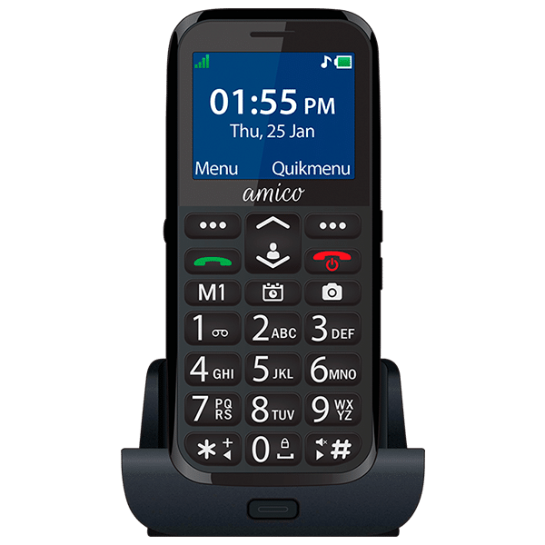 Pedder Johnson Easy Fone Senior Phone-Amico (Black)