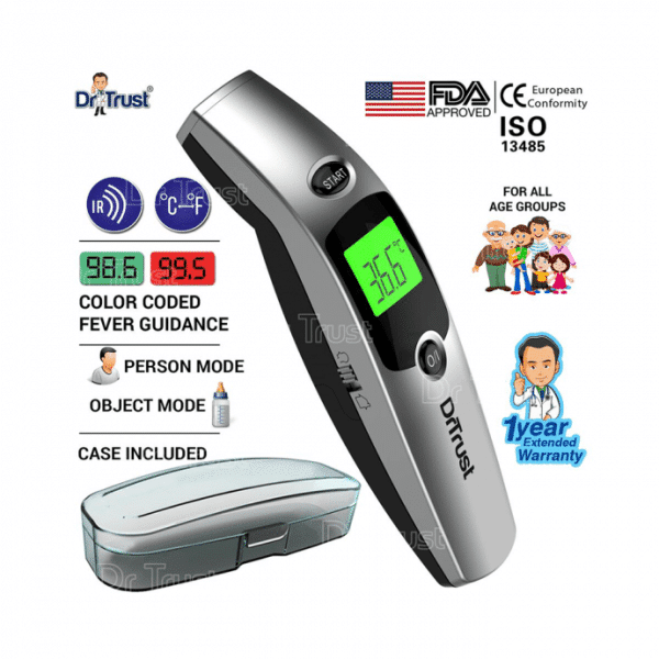 Dr Trust USA Infrared Forehead Temporal Artery Thermometer with Color Coded Fever Guidance Grey
