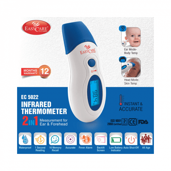 Easy Care EC 5022 Infrared Thermometer 2 in 1 Measurement for Ear and Forehead White